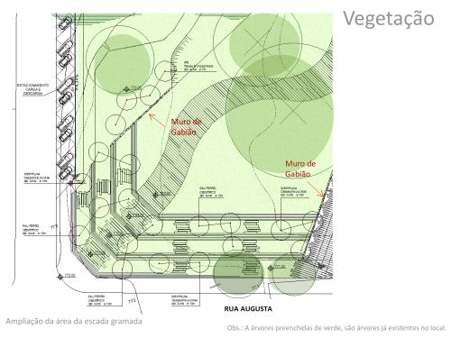 Projeto Parque Augusta planta de vegetação FIAMFAAM