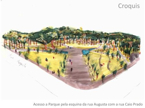 Parque Augusta: ilustração André Spadari FIAMFAAM escritório modelo de arquitetura