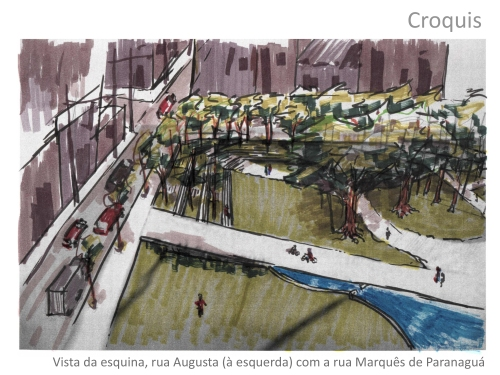 Parque Augusta: ilustração André Spadari projeto para Parque Augusta FIAMFAAM escritório modelo